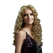 Troadzwig Blonde Wave Long Big Curly Hair Natural Fluffy Middle Part Wigs for Women Kanekalon Fibre Synthetic