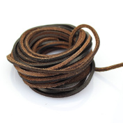 3mm Genuine Leather Cord Braiding String Brown For Necklace Bracelet