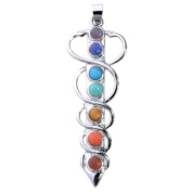 Top Plaza Vogue 7 Chakra Healing Stones Pendant for Necklace Making, 3 Style - Yoga/Angel/Sword,5.8cm - 6.4cm