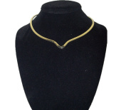 New Shiny Gold Notched Choker Collar Necklace Wire Average Size