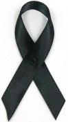Black Satin Awareness Ribbons - Bag of 250 Fabric Ribbons w/ Safety Pins