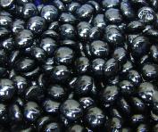 "Glass Gems - Vase Fillers - Black 0.9kg, 17-19mm, Approx. ¾"") Flat Marbles, Gems Stones, Accent Gems, Mosaic Glass Tiles Centrepiece Fillers"