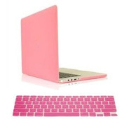 Candance(TM)Pink Hard Case Cover for Newest MacBook Pro 38cm with Retina Display A1398 Pro 39cm /Pink Frosted Matte Surface Crystal Hard Shell Case for Newest MacBook Pro 38cm with Retina Display A1398 Aluminium Unibody with Keyboard Silicone Cove ..