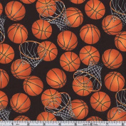 Basketballs Black/Orange Fabric