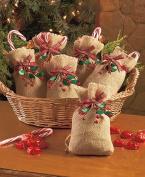 Set of 6 Burlap & Berry Treat Bags