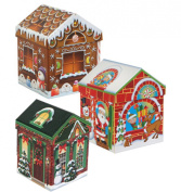 Set of 4 Christmas Holiday House-Shaped Nested Gift Boxes with Lids