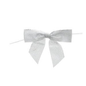 Large Metallic Silver Twist Tie Bow Pack of 100
