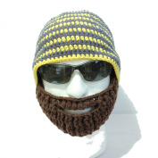 Crocheted Beard Hat Grey and Yellow Stripes Hat with Brown Beard High Quality Milk Cotton Hand Crocheted Beanie Hat
