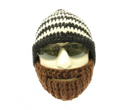 Crocheted Beard Hat Black and White Hat with Brown Beard Milk Cotton Hand Crocheted Beanie Hat