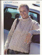 Denim Tweed DK Sweater Sirdar Knitting Pattern 5884 Teens & Women 70cm - 110cm