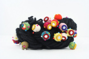 Thick and Thin Wool Yarn with Mirror Felt Balls - Black