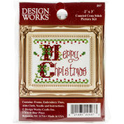 Merry Christmas Ornament Counted Cross Stich Kit-5.1cm x 7.6cm