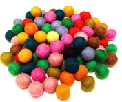 Yarn Place Felt Balls - 100 Pure Wool Beads 20mm Mixed Colourful Colours Nature's Delight