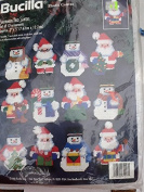 Bucilla Snowmen and Santa Set of 12 Plastic Canvas Ornaments #61217