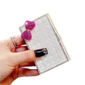 Shinning Pure White Rhinestone Business Card Case/9.5x5.5cm