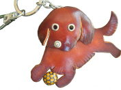 Genuine Leather Key-chain/ bag-charm, Happy Puppy Playing a Ball pattern, Brown.