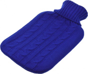 Full Size (Large) Hot Water Bottle with Arran Knitted Removable Washable Cover - Blue