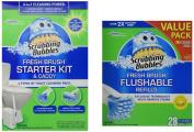 Scrubbing Bubbles Fresh BRUSH Max Starter Kit and Scrubbing Bubbles Toilet Fresh Brush 28 ct Flushable Biodegradable Refills Bundle 2 Items