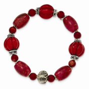 Best Birthday Gift Sterling Silver Antiqued Beads & Red Coral Stretch Bracelet