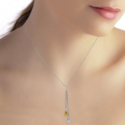 1.4 CT. 14K White Gold Necklace with Blue Topaz and Citrine