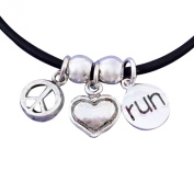 Running Necklace, Peace Love Run Charm Trio
