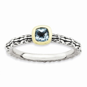 Best Designer Jewellery Sterling Silver & 14k Stackable Expressions Checker-cut Blue Topaz Antiqued