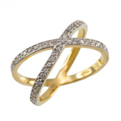 """Fine 10k Yellow Gold Diamond-Accented Double """"X"""" Criss-Cross Cocktail Ring, Size 7.5"""