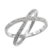 """Fine 14k White Gold Diamond-Accented Double """"X"""" Criss-Cross Cocktail Ring, Size 7.5"""