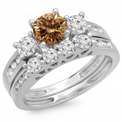 1.80 Carat (ctw) 14K Gold Round Champagne & White Diamond Ladies Bridal 3 Stone Engagement Ring Band Set