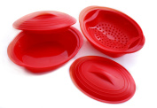 Norpro 180X2R Silicone Steamer Set, Includes 2 Steamers, 1 Streamer Tray and 2 Lids, Red