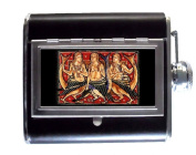 Three Mermaids Classic Sirens Ancient Art 150ml Stainless Steel & Leather Hip Flask with Built-In Cigarette Case