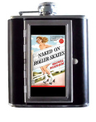 Naked On Roller Skates Vintage Lowbrow Pulp Art 150ml Stainless Steel & Leather Hip Flask with Built-In Cigarette Case