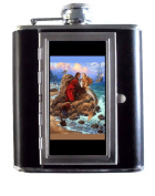 Pirate and Mermaid Classic Art 150ml Stainless Steel & Leather Hip Flask with Built-In Cigarette Case