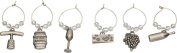 BAR Craft SET of 6 Elegant Decorative Wine Charms