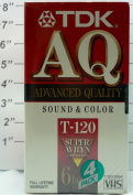 TDK AQ Advanced Quality T-120 Blank VHS Cassette, 6 Hours - Pack of 4