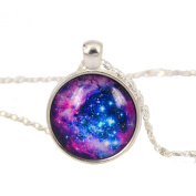 Galaxy Necklace,blue Purple Star Galactic Cosmic Moon Necklace Wedding Necklace