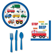 Party Kit for 16 (Birthday or Baby Shower etc) - Plates, Napkins & Cutlery Set : Bonus - Light Up Timer Toothbrush & Reusable Cotton Wipe (Service Vehicles