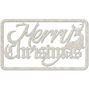 Die-Cut Grey Chipboard Word-Merry Christmas, 13cm x 6.4cm