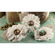 Prima Marketing Flaxence Fabric Flowers with Gems and Beads, 5.1cm , 3 Per Package