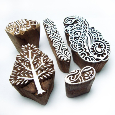 Xmas Tree and Paisley Hand Carved Wooden Block Printing Tags (Set of 5)