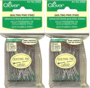 "Two (2) Boxes Quantity 100 Clover Fine Quilting Pins ~ Article No. 2509 ~ 1-7/8"" Long 0.5mm Glass Head"