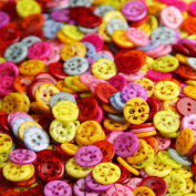 Pack of 50PCS Buttons- Mixed Colours of Various Plain Round DIY Buttons for Sewing and Crafting
