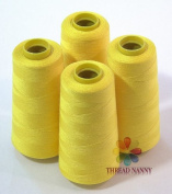 4 Large Cones (3000 yards each) of Polyester threads for Sewing Quilting Serger Canary (Yellow) Colour from ThreadNanny