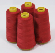 4 Large Cones (3000 yards each) of Polyester threads for Sewing Quilting Serger DARK RED Colour from ThreadNanny