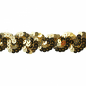 Sequin Trim 2.5cm Wide Polyester Non Stretch Sequin Trim Rolls for Arts and Crafts, 10-Yard, Gold