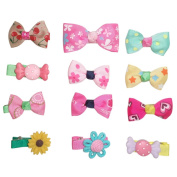 Hair Clips Barrettes Ribbon Bows - 12 pcs of Uniquely Designed For Baby, Toddler, and Young Girls