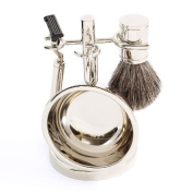 Four Piece Chrome Plated Shaving Shave Set Includes