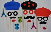 Parisian Inspired Deluxe Kit Photo Booth Props Moustache on a Stick Moustache bash France se la vie... oh lala Props