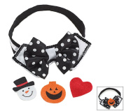 Pet Dog Collar Bow Tie With Removable Felt Attachment for Holidays