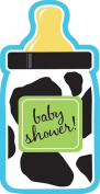 Creative Converting Baby Boy Cow Print Bottle-Shaped Shower Invitations, 8-Count
